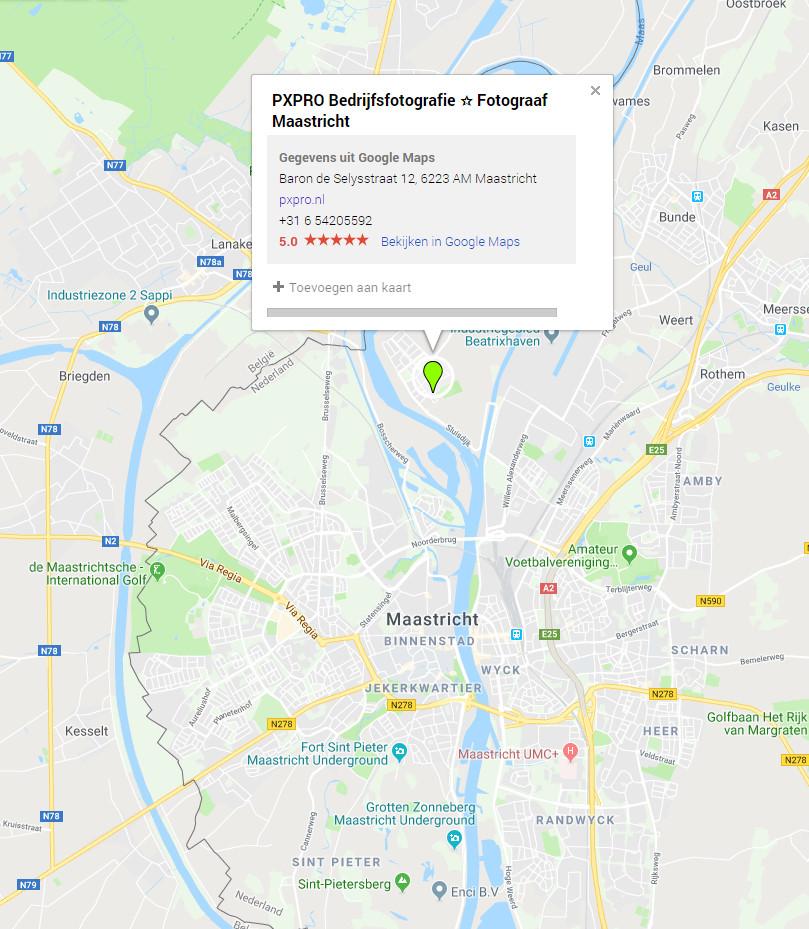 Pxpro bedrijfsfotografie maps locatie